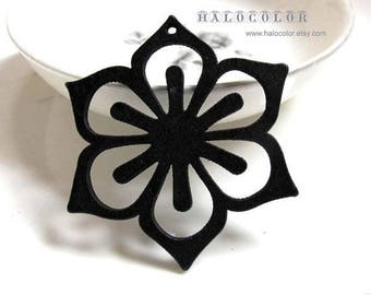 Painting Series  37x48mm Pretty Black Six Peral Flower Wooden Charm/Pendant MH193 01