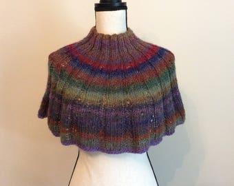 Handmade Scarf/ Cowl Capelet Multicolor, Neck/Shoulder warmer, circle cape