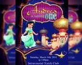 Disney Toddler Princess, Jasmine Birthday, Princess Jasmine, Princess jasmine Invitation - Personalized