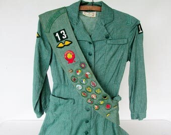 1956 Girl Scout Uniform with Sash Badges Pins Vintage Northumberland PA Troop