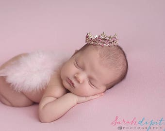Light Pink Angel Baby Wings AND/OR Silver Crown with Pink Rhinestones, baby girl photo, bebe foto, by Lil Miss Sweet Pea