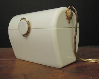 Vintage Mid-Century Handbag / White Sacs Fifth Avenue Purse / Wedding Purse / 1960's Retro Handbag