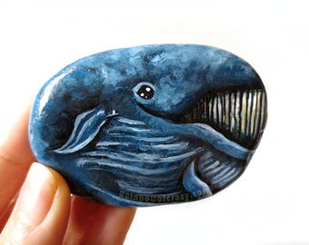 Blue Whale Pebble Art, Hand Painted, Paperweight, Paperweight, Animal Lover, Nautical Decor, Decorative Rock, Nursery Gift, River Stone