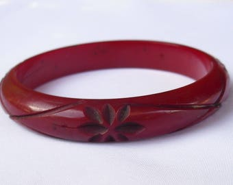 Vintage Dark Cherry Bakelite Bangle