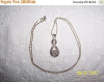 TWICE A YEAR, 25% Off Vintage Diamond Flower pendant with chain. Sterling silver.