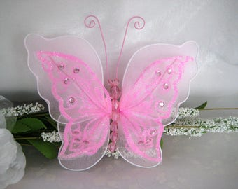 "7"" Pink Nylon Butterflies 2 layered for Baby Shower, Sweet 16, Quinceanera, Wedding, Flower Arrangement, Birthday Party, 1 or 3 piece"