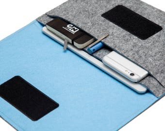 Folio Case for iPad mini. iPad mini 4 case, iPad mini 2 case, mini iPad cover - Gray & Sky Blue - Weird.Old.Snail