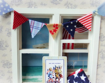 Dollhouse miniature fabric bunting, fabric banner - Patriotic 1:12 scale
