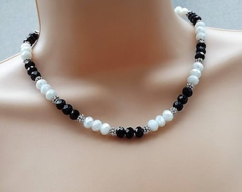 Black and White Crystal Beaded Necklace.