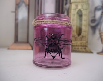 Small hand decorated pink and black bee jar