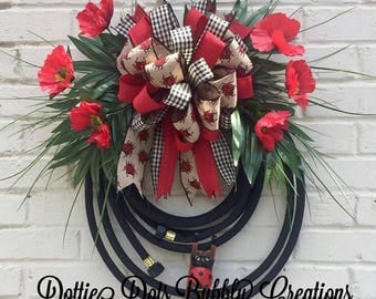 Ladybug Water Hose Wreath, Water Hose Wreath, Ladybug Wreath, Summer Wreath