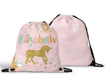 Personalized Unicorn Drawstring Bag -Unicorn Cinch Sack Bag, Drawstring Backpack, Kids Personalized Gift Bag