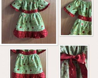Christmas Cotton Short Sleeve Prairie/Peasant Dress, size 2t