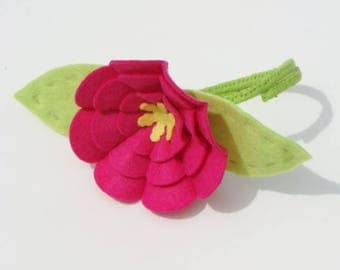 Big Fuchsia KIT 3D Wool Felt Blend Flower KIT- Makes One Flower