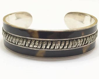 Vintage Sterling Silver with Brown Enameled Inlay Cuff Bracelet
