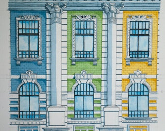 Original Watercolor Painting French Facade 22x30inches, Paris, Watercolor painting, Urban Sketch, Architecture, Wall Art