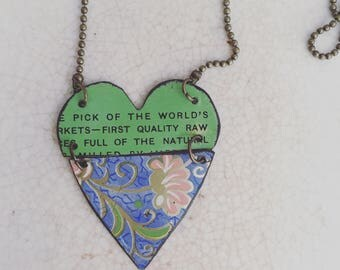 """Tin Jewelry Necklace """"Hinged Heart"""" Tin for the Ten Year Tenth Wedding Anniversary"""