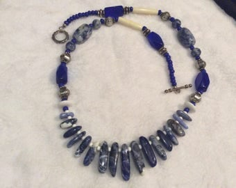 Lapis necklace with graduated stones.