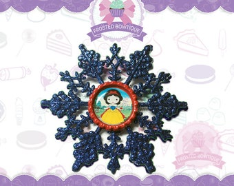 Snow White Glitter Snowflake - Christmas Ornament