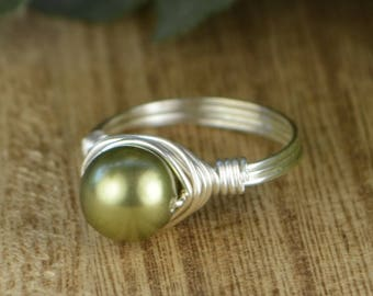 Sale! Green Pearl Wrapped Ring-Swarovski Crystal Pearl and Sterling Silver, Yellow or Rose Gold Filled Wire -Size 4 5 6 7 8 9 10 11 12 13 14