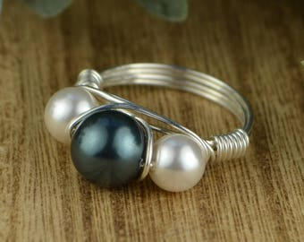 Pearl Wrapped Ring-  Sterling Silver, Yellow or Rose Gold Filled Wire/Tahitian Blue and White Crystal Pearls-Size 4 5 6 7 8 9 10 11 12 13 14