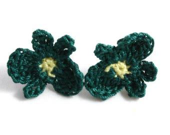 Earrings - Vegan Earrings - Vegan Jewelry - Earrings Studs - Crochet Earrings - Flower Earrings - Stainless Steel Earrings - Green Earrings
