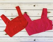 Vintage 90's Forenza Cropped Cotton Bra Top Red or Pink L