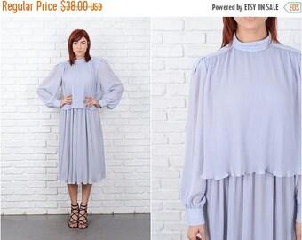 ON SALE Vintage 70s 80s Gray Dress Puff Sleeve Pleated High Collar Midi Medium M 9599