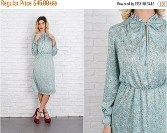 Sale Vintage 70s Green Mod Dress Floral Leaf Print Ruffle long sleeve Small S 8545