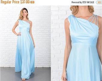 Sale Blue Maxi Dress Boho Vintage 70s  Hippie Strappy One shoulder XS 8009 vintage dress 70s dress blue dress maxi dress hippie dress