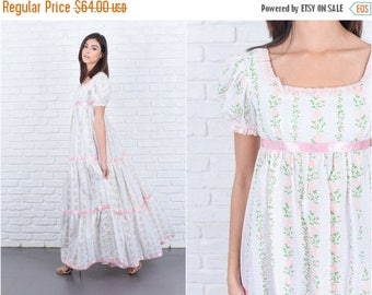 Sale Vtg 60s 70s White Boho Dress Prairie Dress Puff Sleeve Lace Polka Dot Floral XXS 7583 vtg dress 60s dress 70s dress prairie dress flora