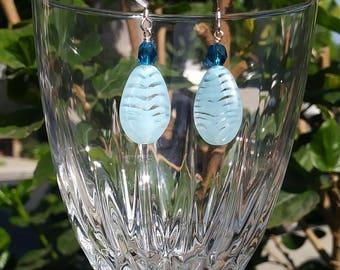 Bead Blue Teardrop Glass Earring