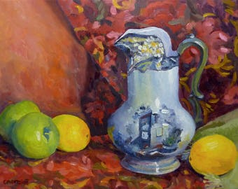 Still Life Oil Painting Vintage Pitcher with Apples and Lemons