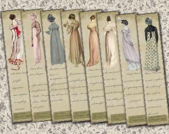 Eight Jane Austen Heroine quote bookmarks digital collage sheet. DIGITAL DOWNLOAD