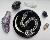 Snake Crescent Moon Black and White Witch Altar Trinket Ring Dish Lunar Serpent