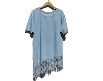 Vintage Denim Fringes Top