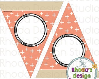 Editable Triangle Banner Party Decoration Instant Download Chevron Printable Digital