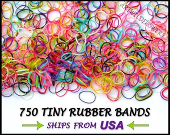 750 Tiny Rubber Bands - Small RubberBands - Colorful Little Mini Braid Hair Ties - Multi Color Elastic Bands for Braids & Ponytail Ends