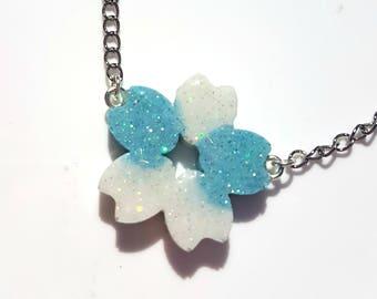 Cherry Blossom / Sakura Resin Necklace - Blue and white