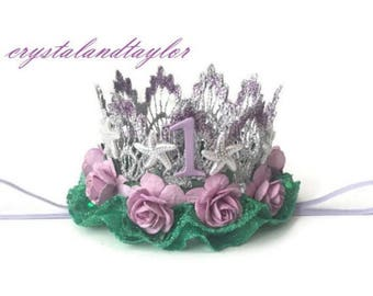 Sequin Mermaid Birthday Crown, Silver, Lavender and Mint Floral Crown, Birthday Crown, Starfish Crown, Birthday Hat, First Birthday Crown