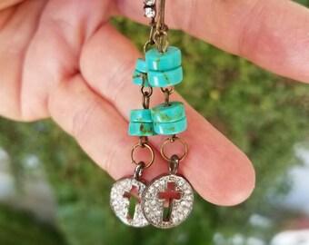 Turquoise Earrings Cross Earrings Southwestern Earrings New Mexico Arizona Long Earrings Rhinestone Earrings Paris Flea Market Rustic