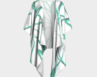 Kimono Robe Wild Teal Lines in chiffon or knit
