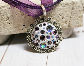 Amethyst necklace, Swarovski charm, purple crystal pendant, epoxy clay jewelry, crystal necklace, purple jewelry, gift for her, OOAK