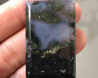 Beautiful Moss Agate Stone Cabochon 26 x 39 mm