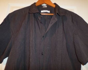 Vintage Calvin Klein Mens Shirt XL Short Sleeve Button Down 100% Cotton