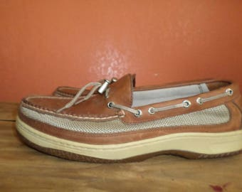 Sperry Top Sider Shoes 12 XW Brown Slip Ons Canvas Shoes Preppy Rubber Bottom Cool Leather Upper Boat Shoes Deck Shoes