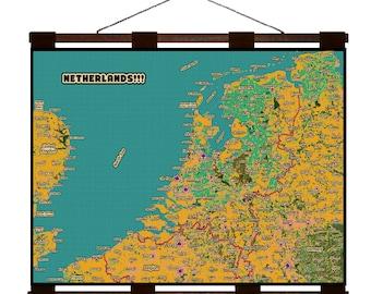 NETHERLANDS 4G- Handmade Leather Wall Hanging - Travel Art