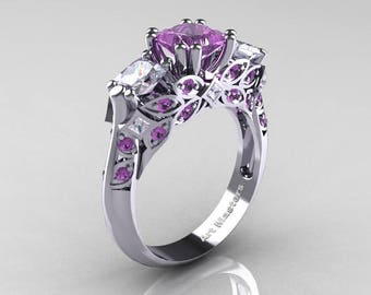 Classic 14K White Gold Three Stone Princess Lilac Amethyst White Sapphire Solitaire Ring R500-14KWGWSLAM