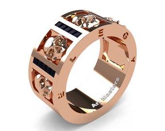 Mens Avant Garde 14K Rose Gold Channel Set Princess Black Diamond Skull Wedding Ring R413P-14KRGBD