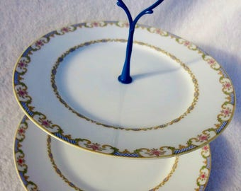 Vintage Limoges China Plate Stand, 2-Tiered China Stand, Haviland Limoges China
